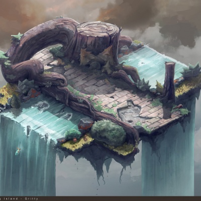 Environment Style Design 2d: Gritty - Line art by Thomas Visscher. Colors by me.