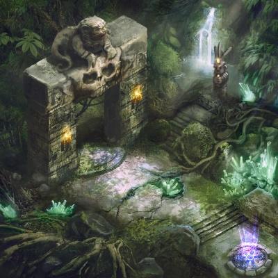 Environment Style Design 2d: Deep Jungle - Line art by Thomas Visscher. Colors by me.