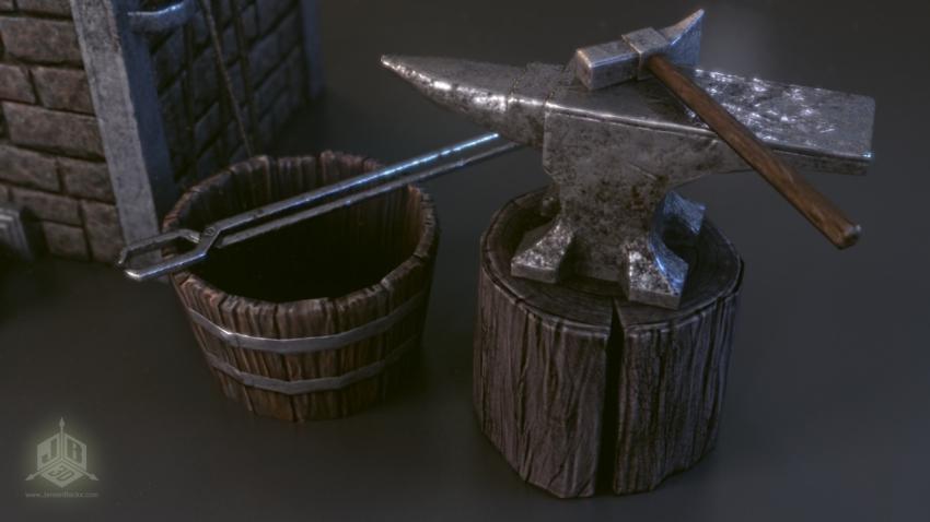 A blacksmiths hammer and anvil.