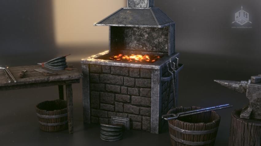 A blacksmiths furnace