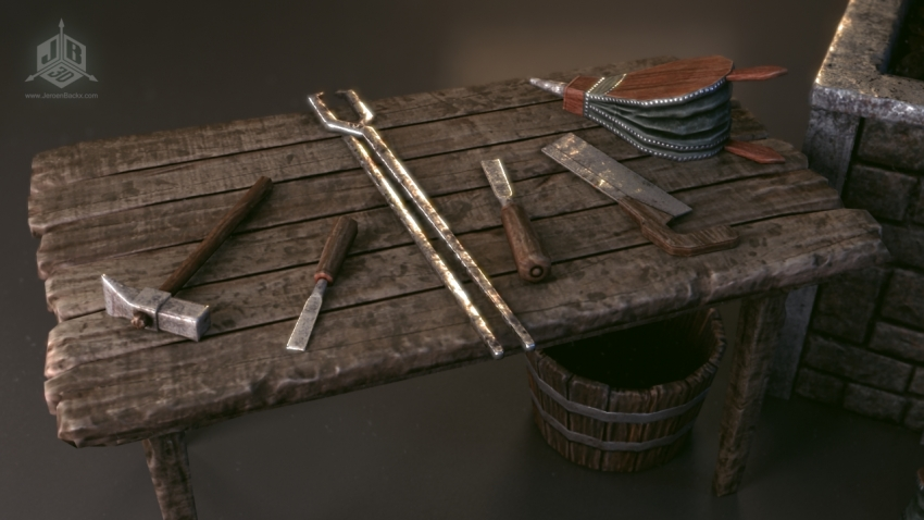 The blacksmiths table with tools