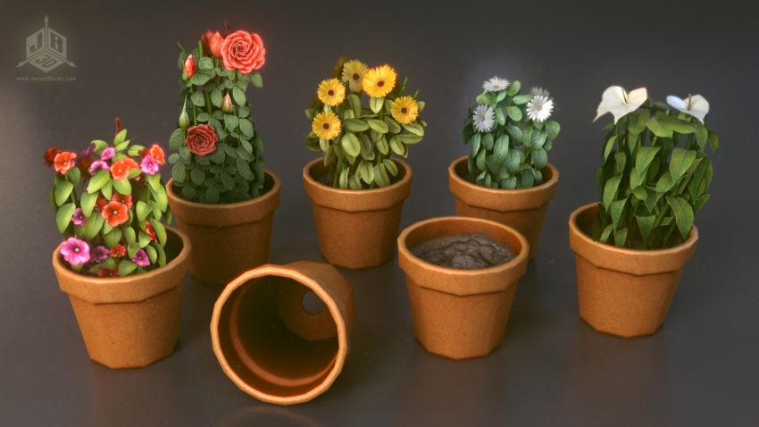 Some colourful flowerpots.
