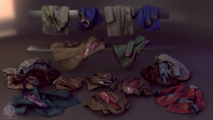 Folded clothes and piles of clothes