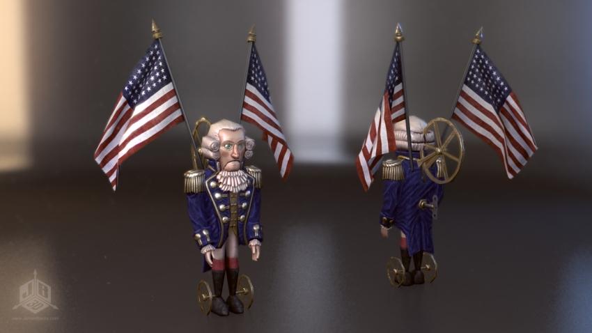 A George Washington Tin soldier toy.