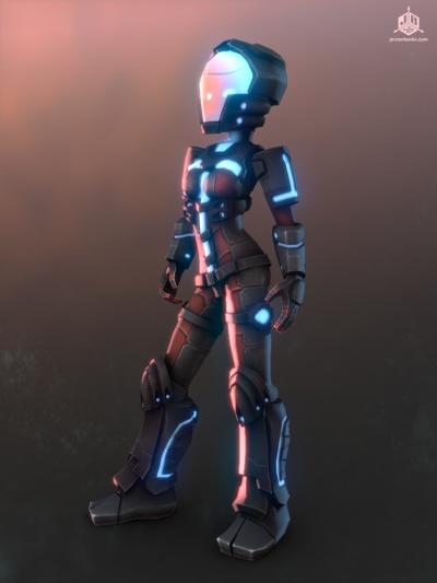The Hero in her advanced Combat Suit