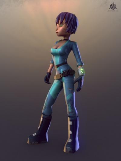 The Hero in her jumpsuit