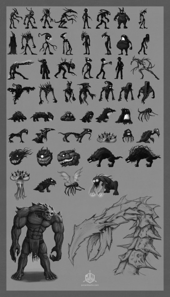 Monster thumbnail concepts and some boss ideas