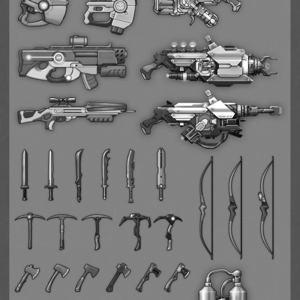 All types of tools and weapons, these were fun!