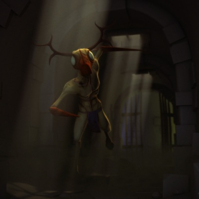 The demon deer rendered in a dungeon environment.
