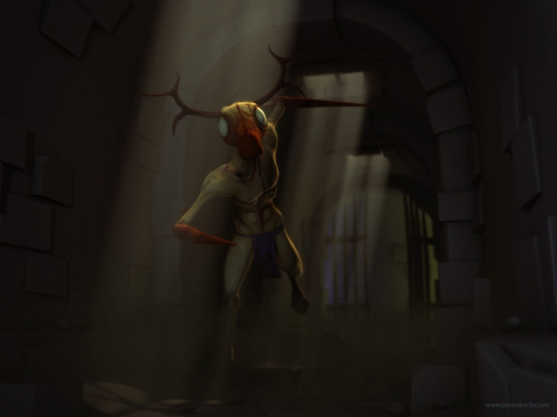 A demon deer rendered in a dungeon environment