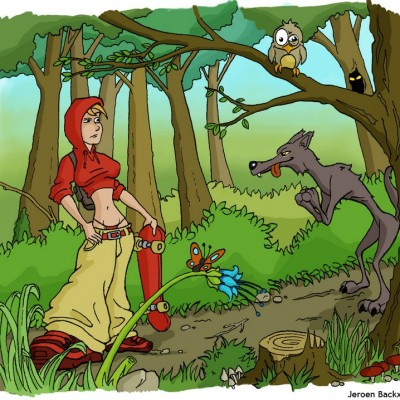 Red Riding Hood, riding her skateboard into adventure