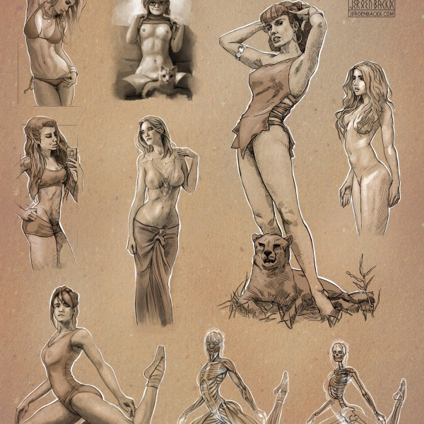 Female Figure Drawing Studies